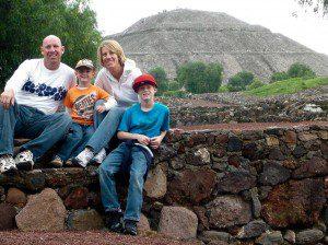 family near pyramid
