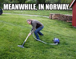 Vacuuming grass