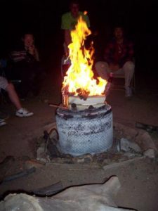 campfire in drum