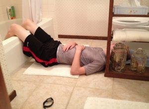 Micah asleep bathtub